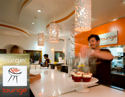 Burger Lounge successfully uses the colors of its logo throughout its interior effectively branding itself.