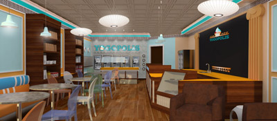 Yogopolis yogurt shop design