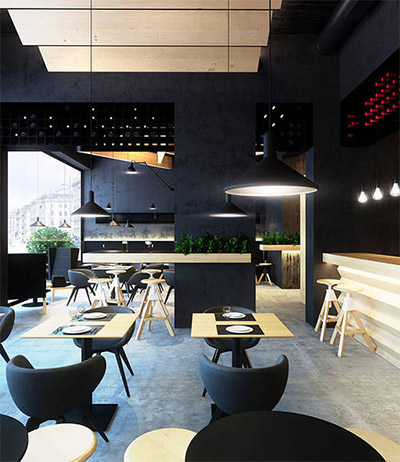 Contemporary cafe design in ukraine commercial interior design news mindful design consulting - Interesting interior designs ...