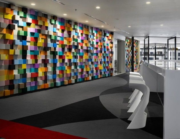 Office Wall Colour Design : Vibrant sherwin williams office interior design in