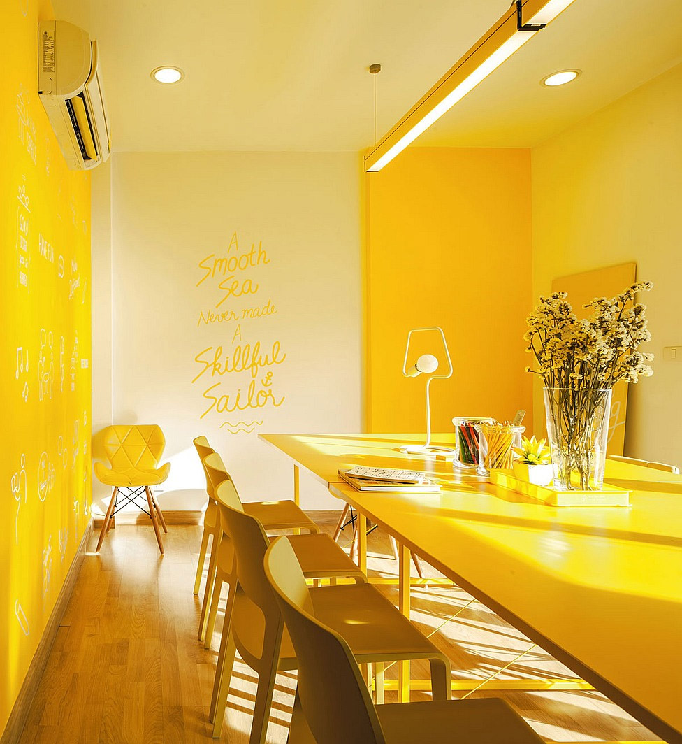 Brightly colored co working office commercial interior design mindful design consulting - Yellow accents in interior design ...