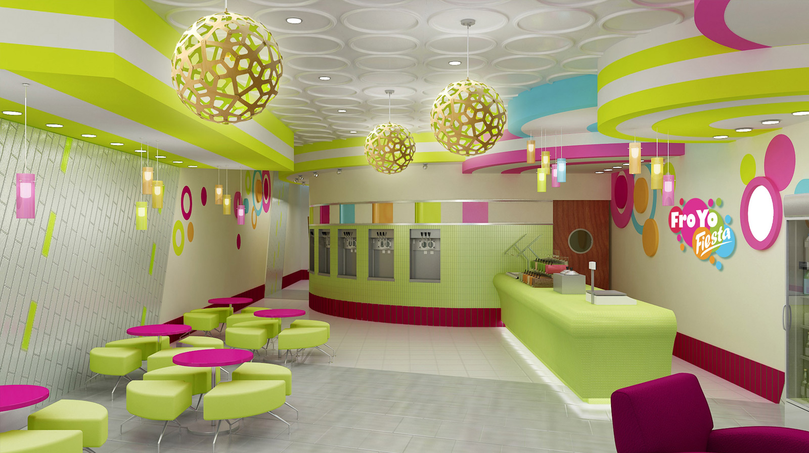 Froyo Fiesta Yogurt Shop Interior Design