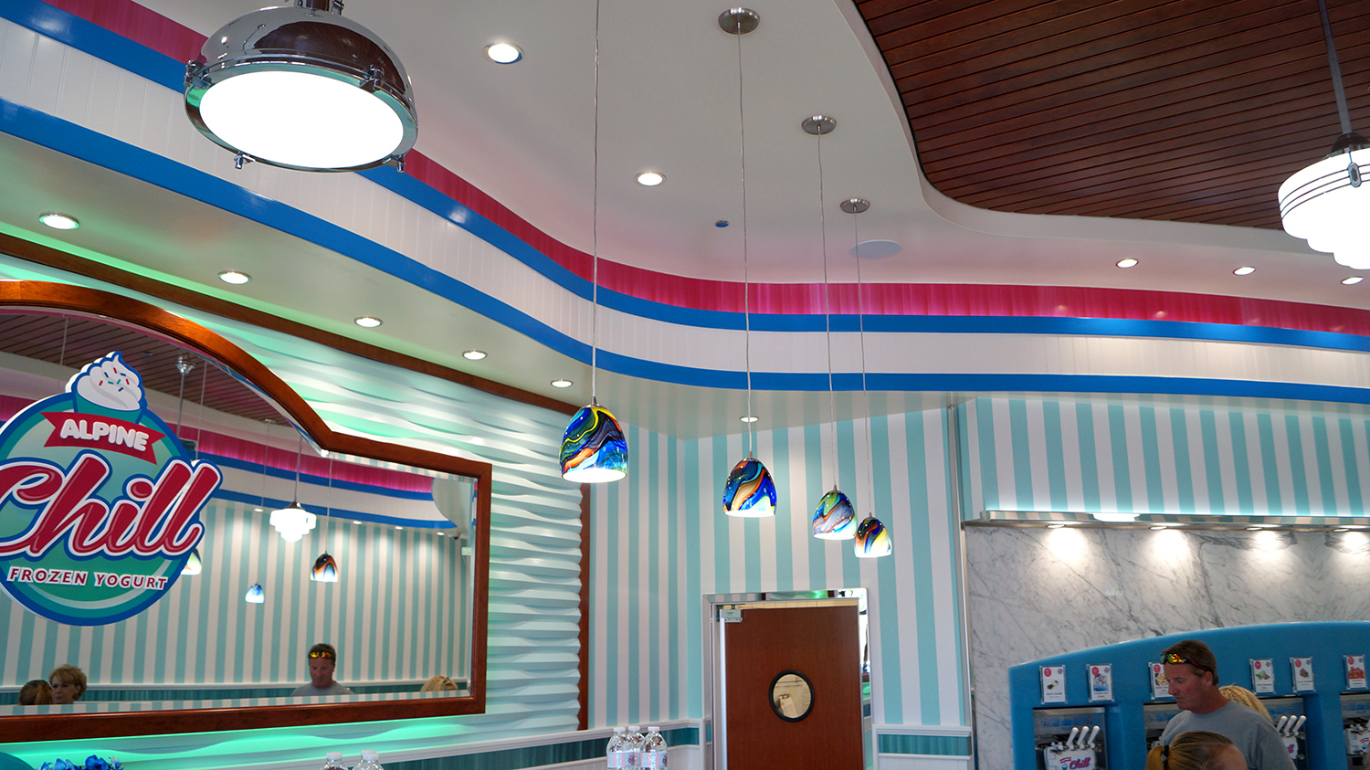 Alpine Chill frozen yogurt shop interior design and branding
