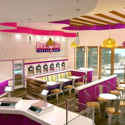 Bearry Bliss frozen yogurt shop interior design and branding