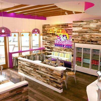 Bearry Bliss frozen yogurt shop interior design and branding