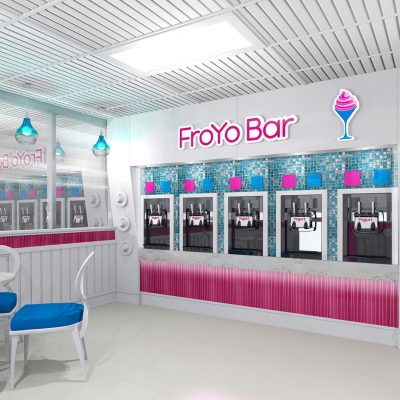 FroYo Bar frozen yogurt shop interior design and branding