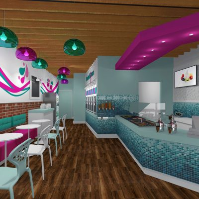 Frosted Spoon frozen yogurt shop interior design and branding