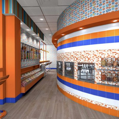 Frostie Bites frozen yogurt shop interior design and branding
