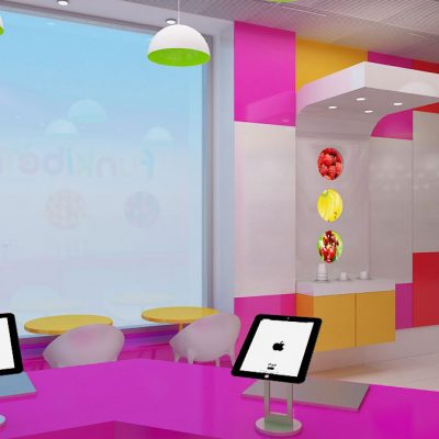 Funkiberry frozen yogurt shop interior design and branding