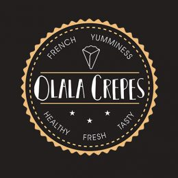 Loyalty hipster card crepe shop design graphics for Olala Crepes