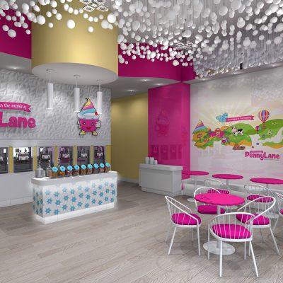 Penny Lane frozen yogurt shop interior design and branding