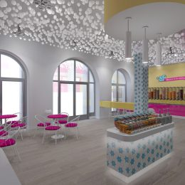 Penny Lane frozen yogurt shop interior design and branding