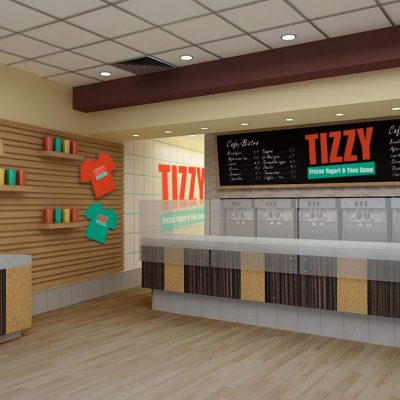 Tizzy Cafe interior design and branding