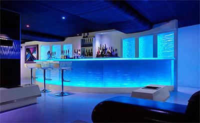 backlit glass bar design