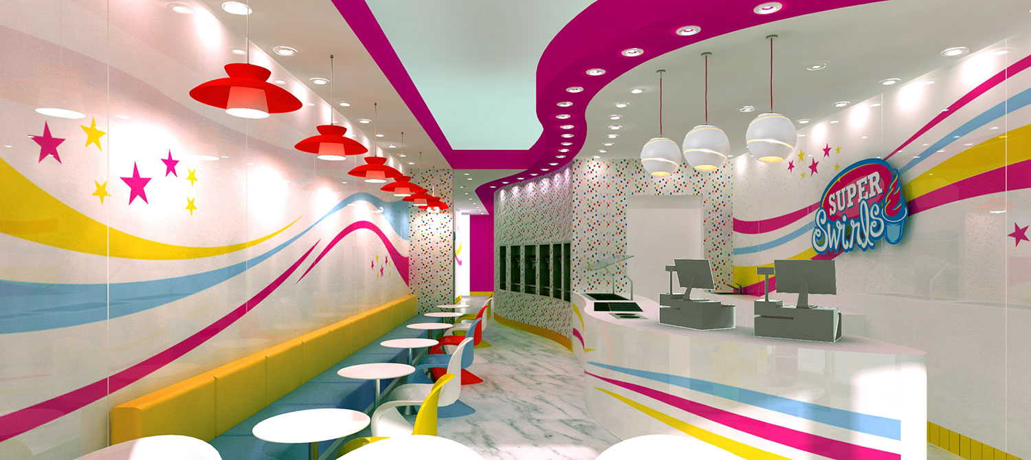 Super Swirls Yogurt Shop Interior Design