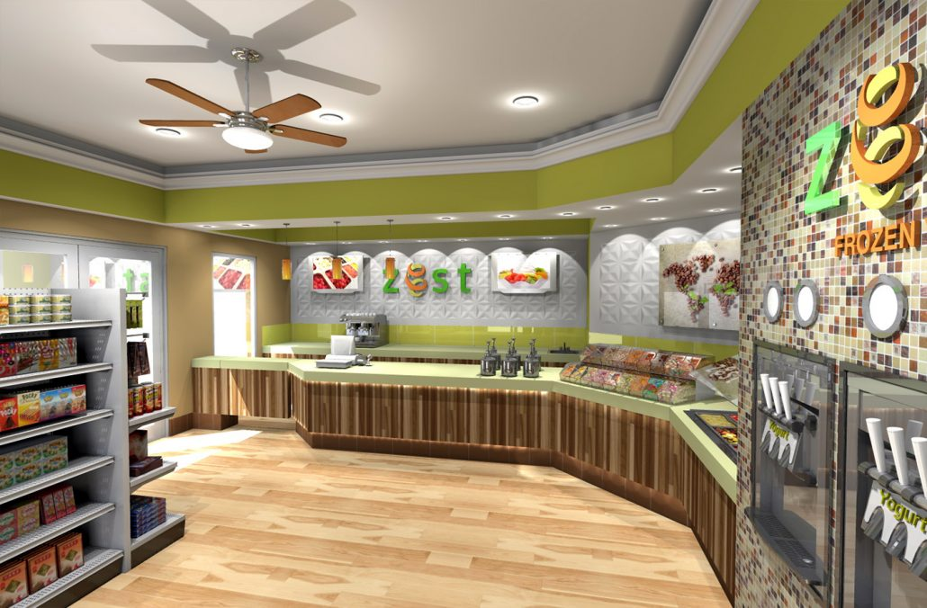 Zest Cafe Yogurt Shop Interior Design by Mindful Design Consulting