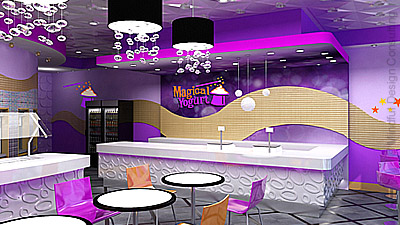 Magical Yogurt Shop branding and interior by Mindful Design Consulting