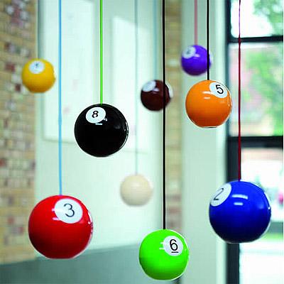 pool ball wood pendants