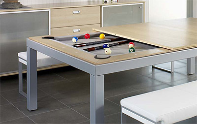 Dining Table Transforms into a Pool Table Commercial Interior
