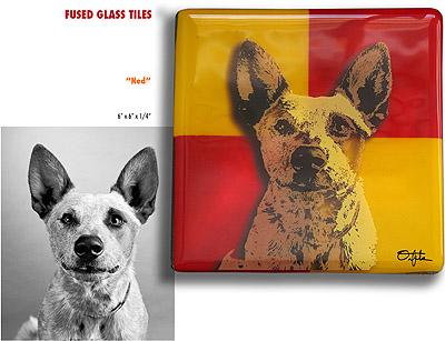 Fused glass tile Ernie Orfila