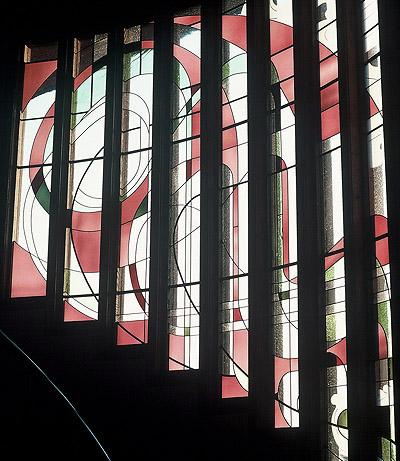 Stained glass art stairway window by Ernie Orfila