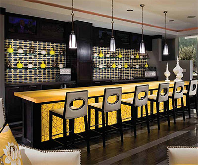 nslucent backlit panels restaurant bar design