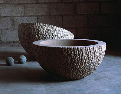 Concrete planters pots in interior design