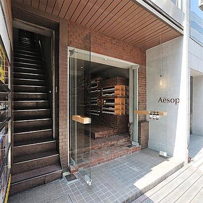 Store interior designn with brick entrance