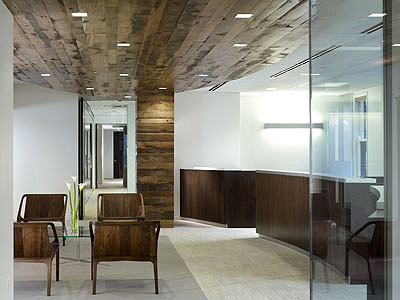 Office interior design reclaimed wood