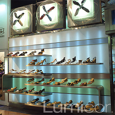 Store interior design translucent panels walls