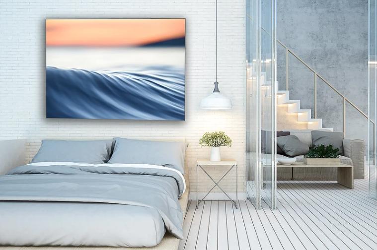 Waves photos in bedroom