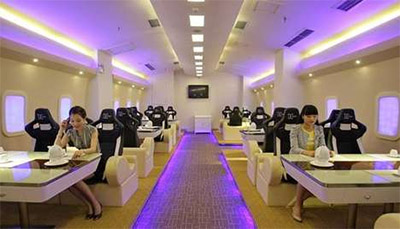Restaurant interior design resembling plane