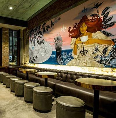 cafe interior design mural