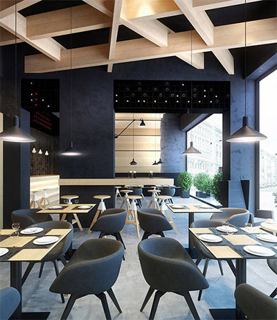 Contemporary Cafe Design In Ukraine Commercial Interior