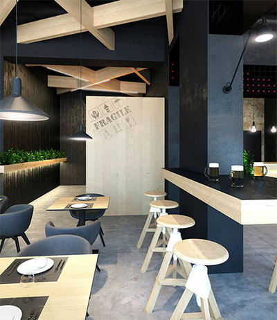 Contemporary cafe design in ukraine commercial interior for Modern contemporary interior design