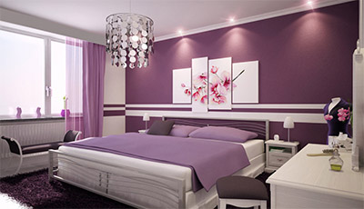 radiant orchid color interior bedroom