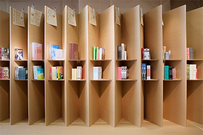 book store interior design sustainable
