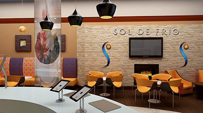 sol de frio yogurt shop interior design bench
