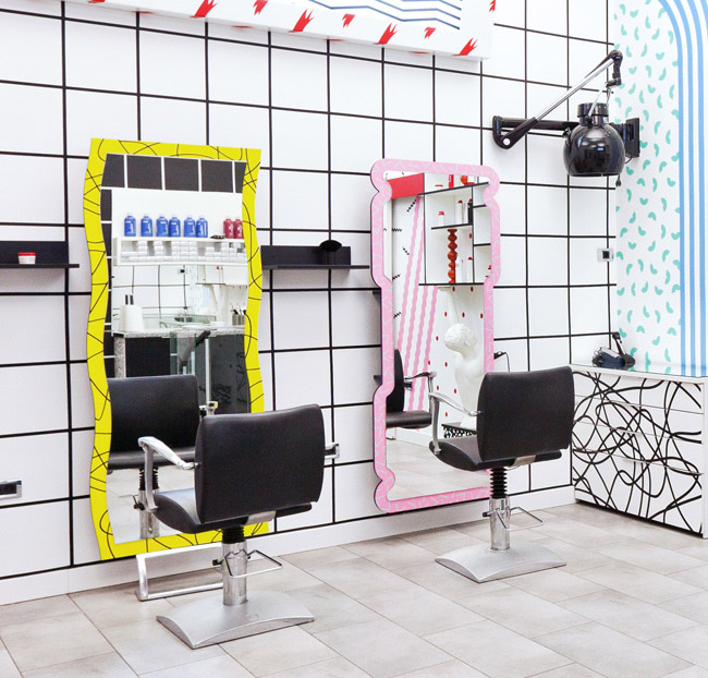 Styling hair salon or a paper doll house commercial for Hair salon interior design photo
