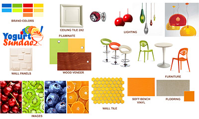 Yogurt Sundae Shop Design Interior Elevations Were Created Based On Selected Materials