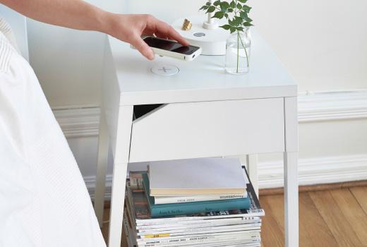IKEA seamless charging spot on nightstand