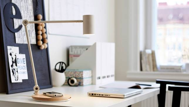 IKEA wireless charger built into desk lamp