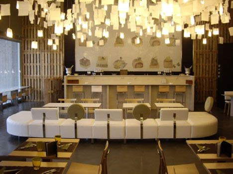 Restaurant Interior Uses Unexpected Recycled Materials
