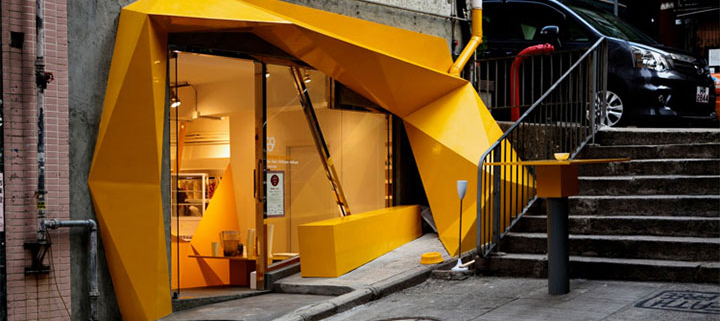 Unique storefront with modern geometric lines and eye-catching color