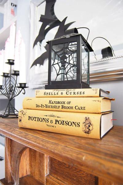 halloween decor with books