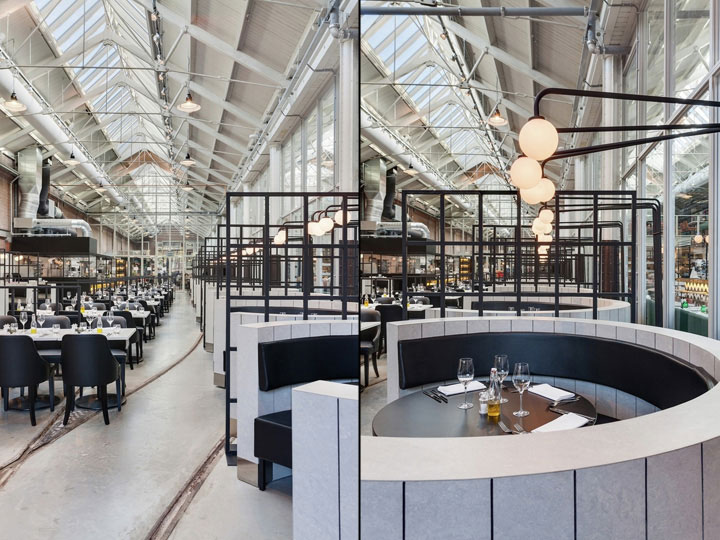 Dutch restaurant flaunts industrial design with rails for Design consultancy amsterdam
