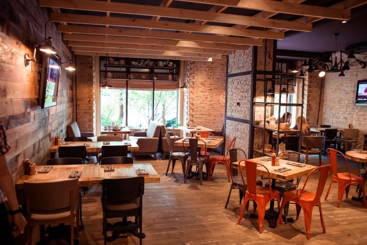 Trendy restaurant interior design is at the junction of