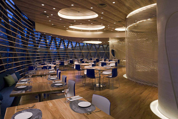 Unconventional shapes in marine themed restaurant interior