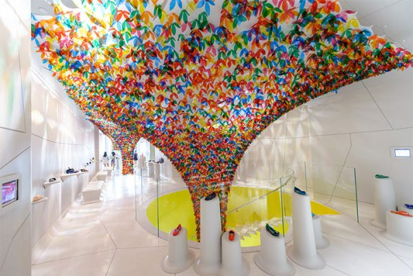 Colorful Floral Twister Takes Over Manhattan Shoe Store Design