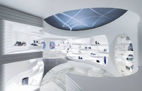 Futuristic Shoe Store Design Treats Shoes as Artwork